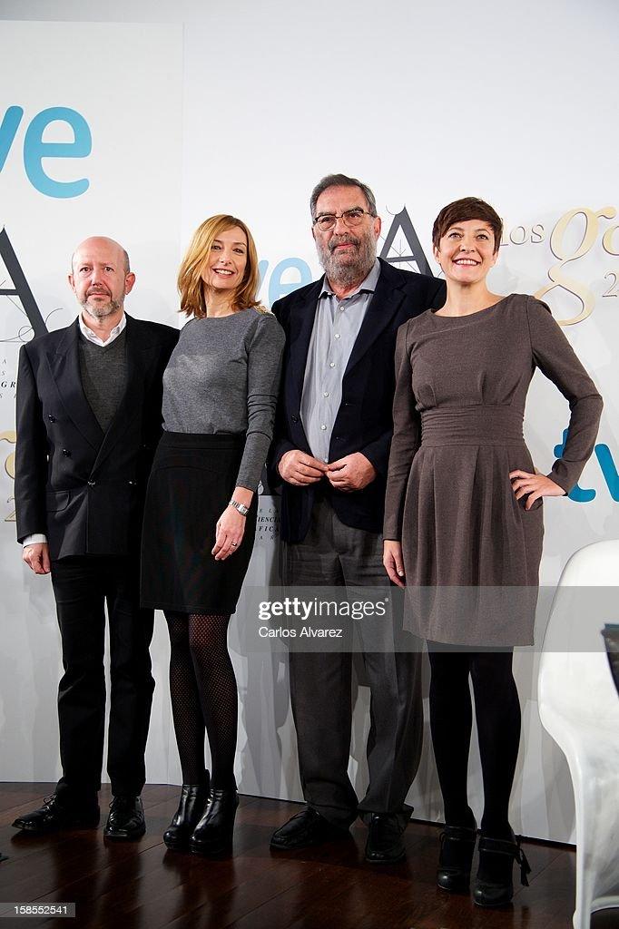 Emilio Pina, Eva Cebrian, President of Spanish Cinema Academy Enrique Gonzalez Macho and Eva Hache attend the 'Goya Film Awards 2013' press conference on December 19, 2012 in Madrid, Spain.