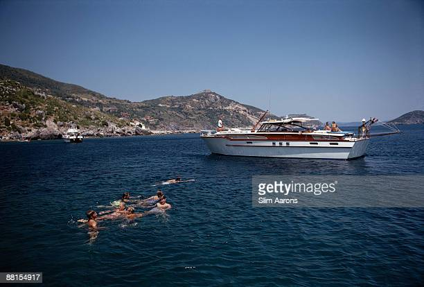 Emilio Pucci Marchese di Barsento holidays with family and friends on a luxury yacht in Porto Ercole Tuscany August 1969