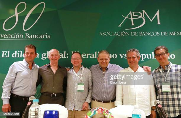 Emilio Romano chief executive officer of Bank of America Mexico SA from left Luis Nino De Rivera Lajous former chairman of Banco Azteca Del Peru SA...