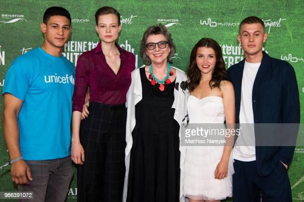 Emilio Sakraya Emma Bading Hortense Ullrich Janina Fautz and Ludwig Simon attend the 'Meine teuflisch gute Freundin' Premiere at Cinemaxx on June 28...