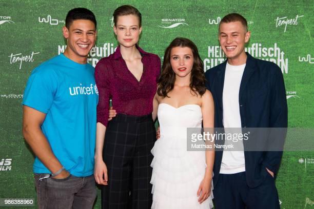 Emilio Sakraya Emma Bading Janina Fautz and Ludwig Simon attend the 'Meine teuflisch gute Freundin' Premiere at Cinemaxx on June 28 2018 in Berlin...