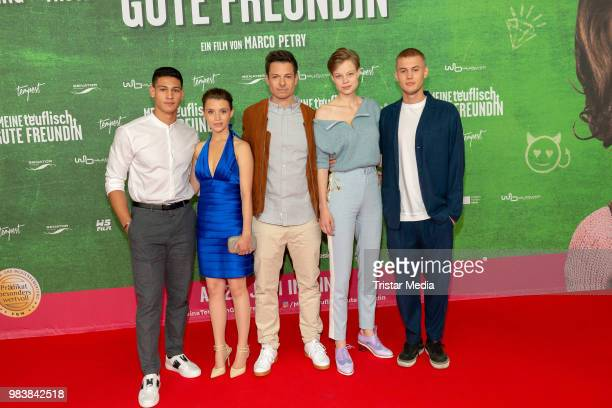 Emilio Sakraya Janina Fautz Marco Petry Emma Bading and Ludwig Simon during the premiere 'Meine teuflisch gute Freundin' on June 25 2018 in Cologne...