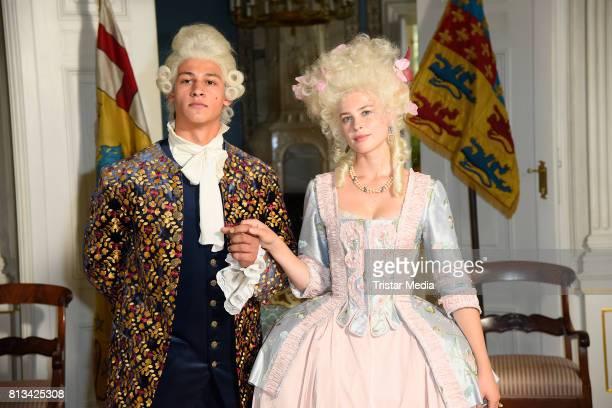 Emilio Sakraya Moutaoukkil and Jeanne Goursaud during the Photo Call at the set of the ARD fairytale TV movie 'Der Schweinehirt' at Schloss...