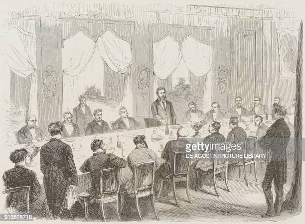 Emilio Visconti Venosta Minister of Foreign Affairs of the Kingdom of Italy in the years 18631901 gives a speech to the voters of Tirano Valtellina...