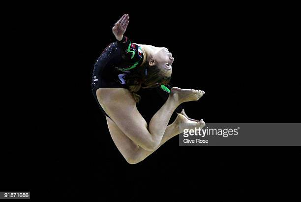 Emiliy Armi of Italy competes in the balance beam event during the second day of the Artistic Gymnastics World Championships 2009 at O2 Arena on...
