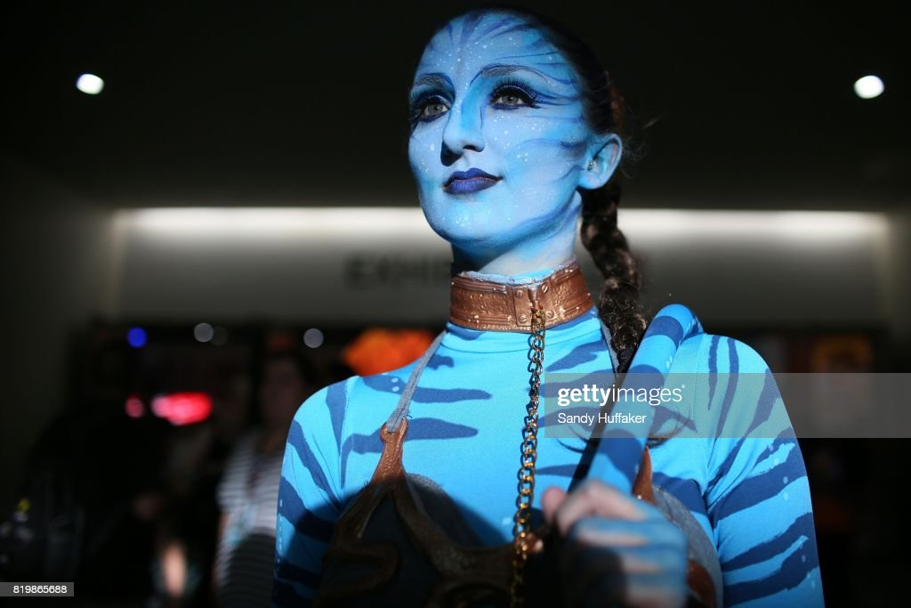 Emily Adamson dressed as a charactor from Avatar at the San Diego Convention Center during Comic Con International on July 20, 2017 in San Diego, California. Comic Con International is North America's largest Comic convention featuring pop culture and entertainment elements across virtually all genres, including horror, animation, anime, manga, toys, collectible card games, video games, webcomics, and fantasy novels as well as movie premieres and actor panels.