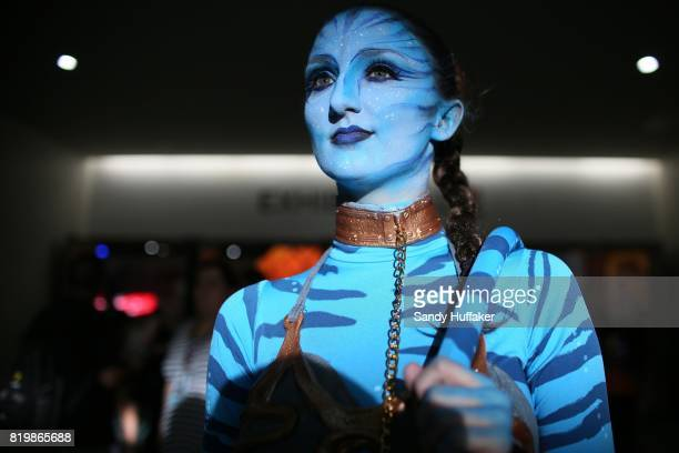 Emily Adamson dressed as a charactor from Avatar at the San Diego Convention Center during Comic Con International on July 20 2017 in San Diego...