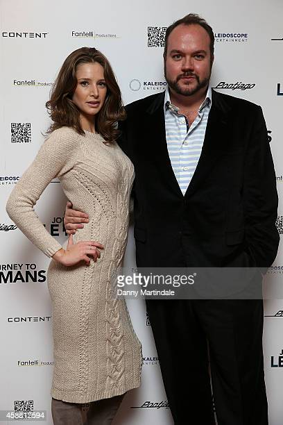 Emily Agnes and Producer Jonathan Sothcott attends the UK Premiere of Journey To Le Mans at Vue Leicester Square on November 11 2014 in London England