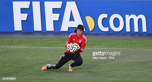 Emily Alvarado of Mexico in action during a Mexico training session at the National Soccer Stadium on August 12 2014 in Toronto Canada