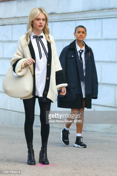 """Emily Alyn Lind and Jordan Alexander are seen at the film set of the """"Gossip Girl"""" TV series on March 15, 2021 in New York City."""