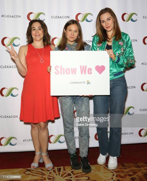 Emily Andras Dominique ProvostChalkley and Katherine Barrell attend the ClexaCon 2019 convention at the Tropicana Las Vegas on April 12 2019 in Las...