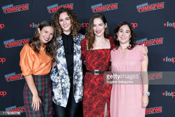 Emily Andras Melanie Scrofano Dominique ProvostChalkley and Katherine Barrell attends the press line at SYFY IDW Entertainment's Wynonna Earp Panel...