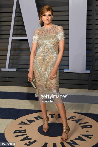 Emily Arlook attends the 2018 Vanity Fair Oscar Party Hosted By Radhika Jones Arrivals at Wallis Annenberg Center for the Performing Arts on March 4...