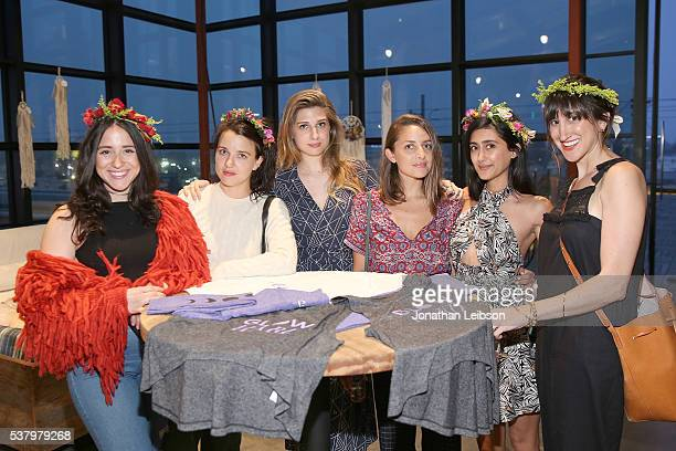 Emily Arlook Kate Bryan Tara Sowlaty and Sidney attend the How You Glow x BeyondYoga Capsule Collection Launch // #BeyondYogaxGlow on June 3 2016 in...