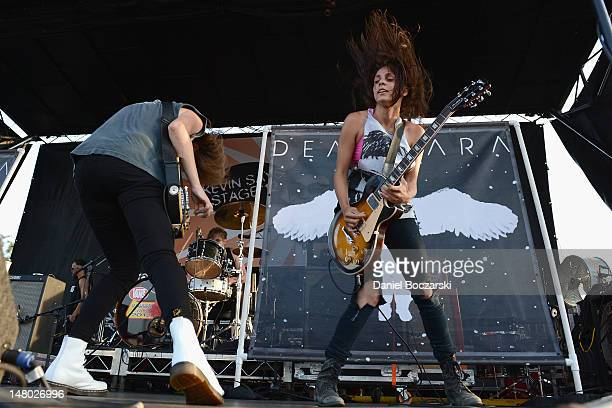 Emily Armstrong and Siouxsie Medley of Dead Sara perform during the 2012 Vans Warped Tour at First Midwest Bank Amphitheatre on July 7 2012 in Tinley...
