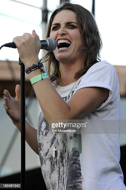Emily Armstrong of Dead Sara performs as part of the 5th Annual Sunset Strip Music Festival on the Sunset Strip on August 18 2012 in West Hollywood...