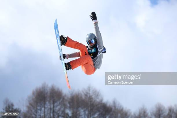 Emily Arthur of Australia competes in the FIS Freestyle World Cup Snowboard Ladies Halfpipe Qualification at Bokwang Snow Park on February 17 2017 in...