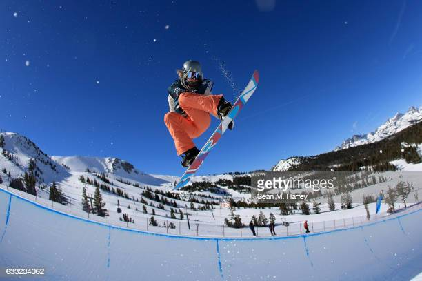 Emily Arthur of Australia takes a practice run during the FIS Snowboard World Cup 2017 Ladies' Snowboard Halfpipe during the Toyota U.S. Grand Prix...