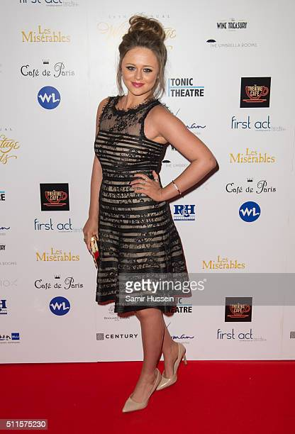 Emily Atack arrives for the WhatsOnStage Awards at Prince Of Wales Theatre on February 21 2016 in London England