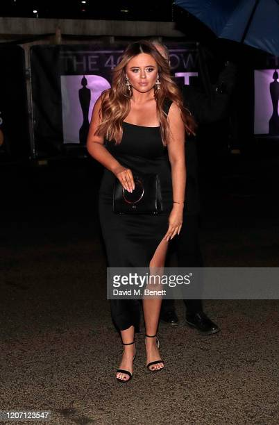 Emily Atack arrives in an Audi at the BRIT Awards at The O2 Arena on February 18 2020 in London England