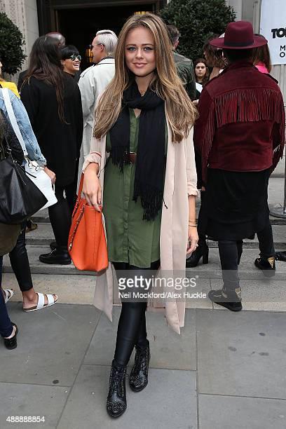 Emily Atack arriving at Freemasons Hall for Felder Felder Fashion Show on September 18 2015 in London England