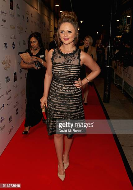 Emily Atack attends the 16th Annual WhatsOnStage Awards at The Prince of Wales Theatre on February 21 2016 in London England