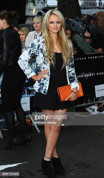 Emily Atack attends The Dark Knight Rises European Premiere on July 18 2012 at the Odeon Cinema Leicester Square in London