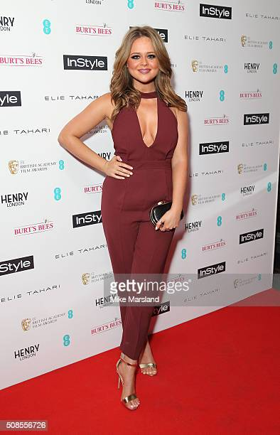 Emily Atack attends the InStyle EE Rising Star PreBAFTA Party at 100 Wardour Street on February 4 2016 in London England