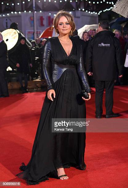 Emily Atack attends the World Premiere of 'Dad's Army' at Odeon Leicester Square on January 26 2016 in London United Kingdom