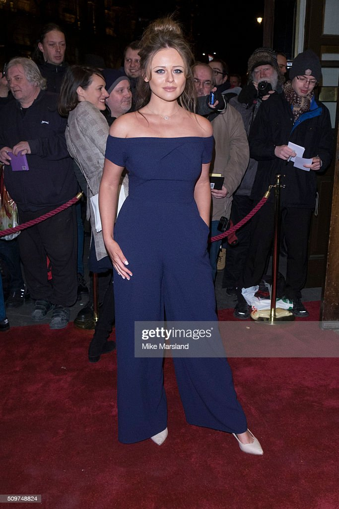 Emily Atack attends the World Premiere of 'End Of Longing', written by and starring Matthew Perry at Playhouse Theatre on February 11, 2016 in London, England.