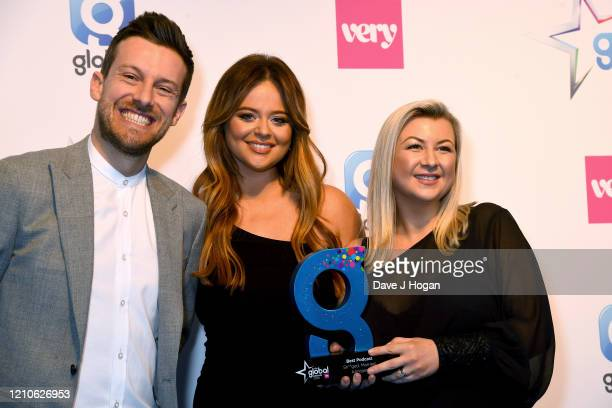 Emily Atack Chris Ramsey and Rosie Ramsey with the award for Best Podcast during The Global Awards 2020 at Eventim Apollo Hammersmith on March 05...