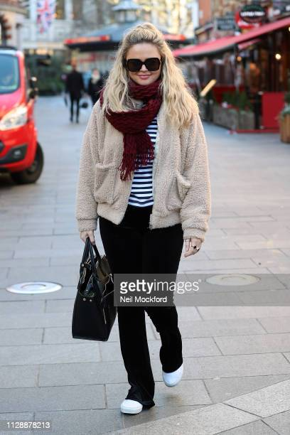 Emily Atack seen leaving Capital Radio studios after cohosting the Breakfast Show on February 11 2019 in London England
