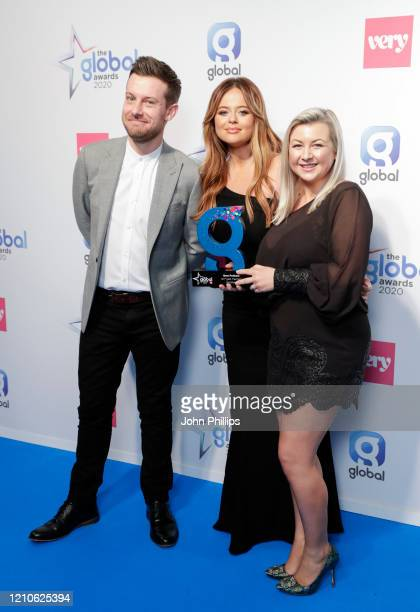 Emily Atack with Chris Ramsey and Rosie Winter winners of the Best Podcast award at The Global Awards 2020 at Eventim Apollo Hammersmith on March 05...