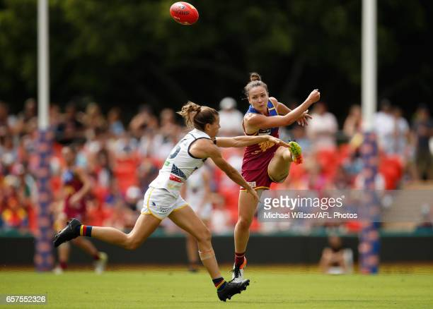 Emily Bates of the Lions and Chelsea Randall of the Crows in action during the 2017 AFLW Grand Final match between the Brisbane Lions and the...