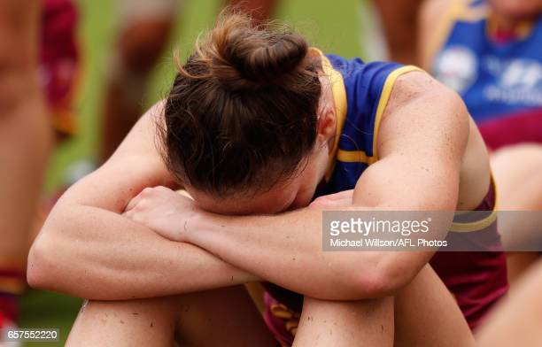 Emily Bates of the Lions looks dejected after a loss during the 2017 AFLW Grand Final match between the Brisbane Lions and the Adelaide Crows at...