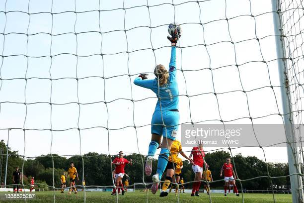 Emily Batty of Nottingham Forest Women makes a save during the FAWNL Northern Premier Division match between Wolverhampton Wanderers Women and...