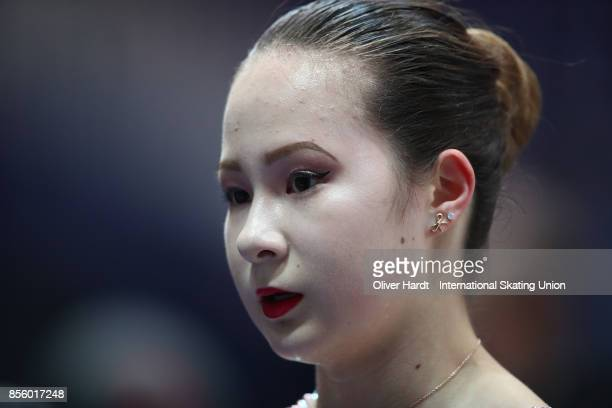 Emily Bausback of Canada after the Junior Ladies Free Skating Program during day four of the ISU Junior Grand Prix of Figure Skating at Dom Sportova...
