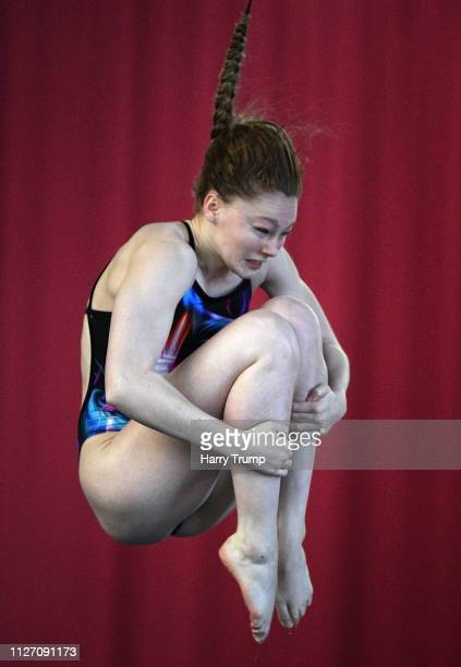 Emily Bearpark of the City of Leeds Diving Club takes a dive during Day Three of the British National Diving Cup 2019 at the Life Centre on February...