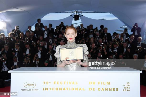 """Emily Beecham, winner of the Best Actress award for her role in """"Little Joe"""" attends thephotocall for Palme D'Or Winner during the 72nd annual..."""