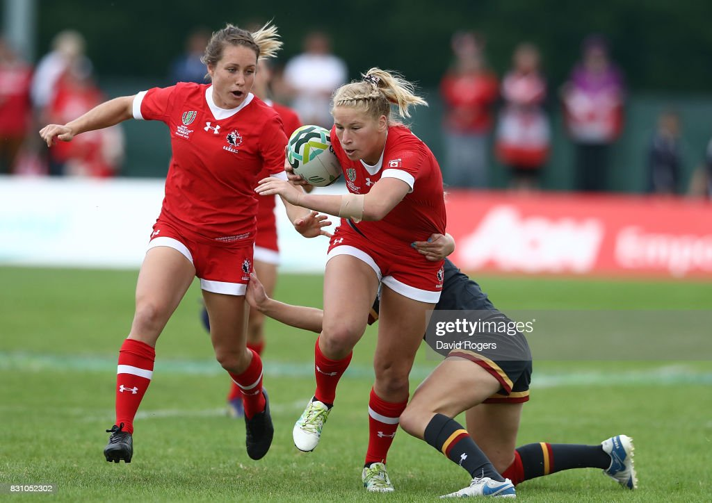 Emily Belchos of Canada is tackled by Elinor Snowsill of Wales during the Women's Rugby World Cup 2017 match between Canada and Wales on August 13, 2017 in Dublin, Ireland.