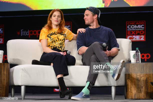Emily Bett Rickards and Stephen Amell attend C2E2 Chicago Comic Entertainment Expo at McCormick Place on February 29 2020 in Chicago Illinois