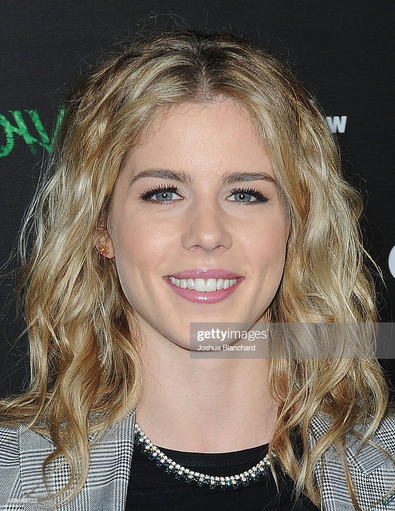 Emily Bett Rickards arrives at a special screening for the CW's 'Arrow' And 'The Flash' at Crest Theatre on November 22, 2014 in Westwood, California.