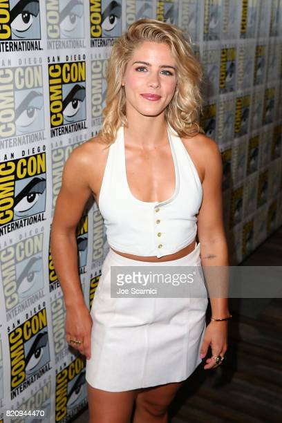 Emily Bett Rickards arrives at the Arrow press line at ComicCon International 2017 on July 22 2017 in San Diego California