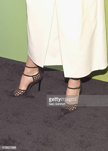 Emily Bett Rickards shoe detail attends the CW Network's New York 2015 Upfront Presentation at The London Hotel on May 14 2015 in New York City