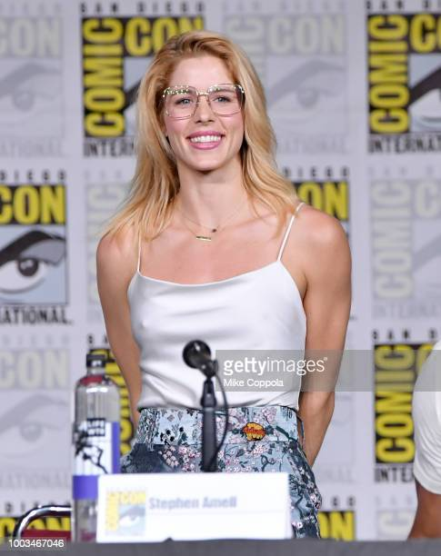 Emily Bett Rickards speaks onstage at the Arrow Special Video Presentation and QA during ComicCon International 2018 at San Diego Convention Center...