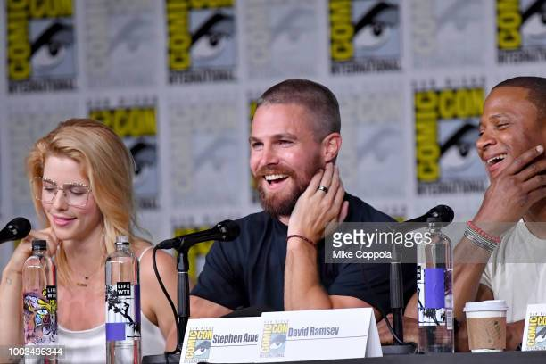 Emily Bett Rickards Stephen Amell and David Ramsey onstage at the Arrow Special Video Presentation and QA during ComicCon International 2018 at San...