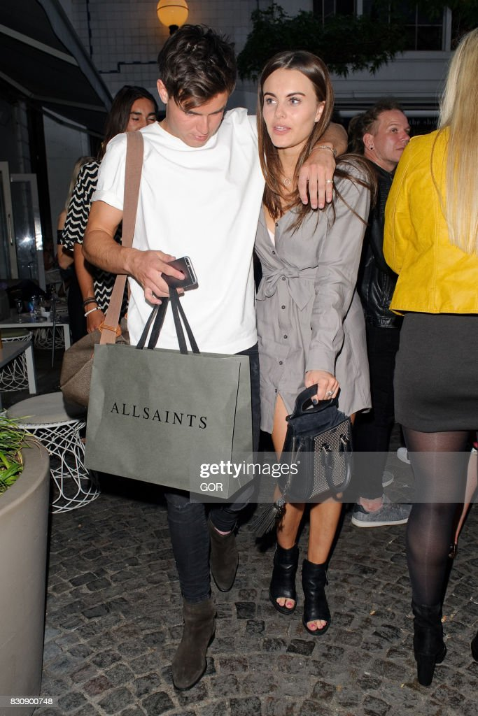 Emily Blackwell (R) and Sam Prince (L) leaving the Bluebird cafe in Chelsea on August 12, 2017 in London, England.