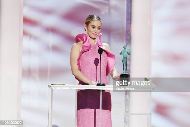 "Emily Blunt accepts Outstanding Performance by a Female Actor in a Supporting Role for ""A Quiet Place"" onstage during the 25th Annual Screen..."