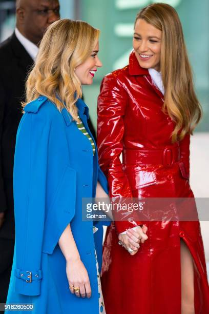 Emily Blunt and Blake Lively attend the Michael Kors fashion show during New York Fashion Week at the Vivian Beaumont Theater at Lincoln Center on...