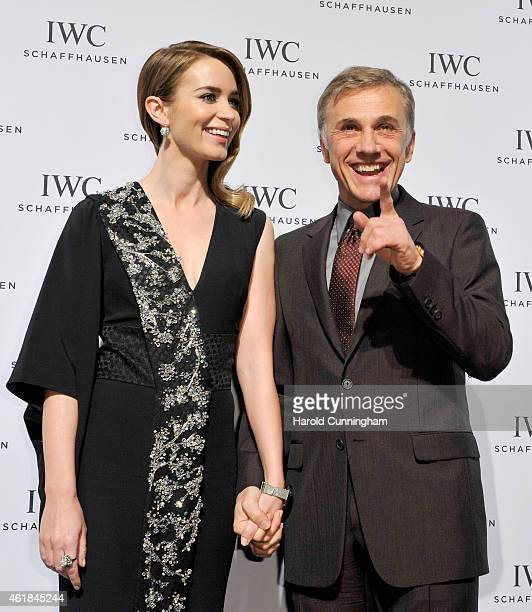 Emily Blunt and Christoph Waltz attend the IWC Journey To The Stars Gala Dinner during the Salon International de la Haute Horlogerie 2015 at the...